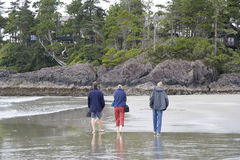 Family on Long Beach of Pacific Rim National Park Stock Photography