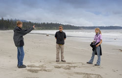 Family on Long Beach of Pacific Rim National Park Royalty Free Stock Images