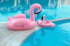 Family look. Two Pink flamingo inflatable swimming pool ring, t. Ube, float. Summer vacation holiday luxurious resort royalty free stock image