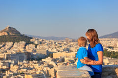 Family looking at Athens Stock Image