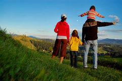 Family looking at the beautiful view Stock Photography