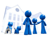 Family Looking at Blue House Blueprint Style Royalty Free Stock Photography