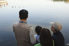 Family looking at ducks in a lake Stock Images