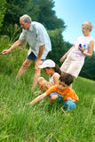 Family looking for insects. Young children outdoors looking for insects and wildlife with the grandparents Stock Photo