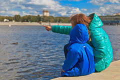 Family looking at Moscow. Mother and little son looking at Moscow view Royalty Free Stock Photography