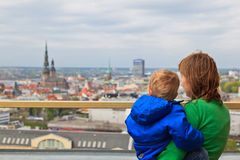 Family looking at Riga Royalty Free Stock Photo