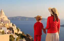 Family looking at Santorini, Greece Stock Images