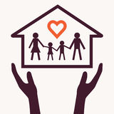 Family love abstract. Hands holding family chain with heart shape  and home symbol in palm. Family love concept Royalty Free Stock Photos