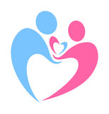 Family Love Care Caring Respect Logo Design. Concept of a man caring and holding a womans hand with both holding a heart Stock Images