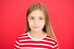 Family and love. childrens day. small girl child. School education. Good parenting. Child care. little girl on red royalty free stock photos