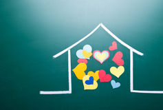 Family love and colorful heart shape Stock Images