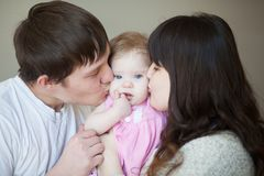 Family love concept. mom, dad and baby stock images