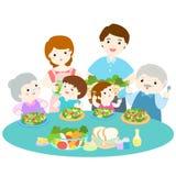Family love eating fresh veggetable  illustration Stock Photography