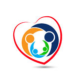 Family love heart shape icon logo. Vector design Royalty Free Stock Photo