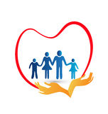 Family love logo vector. Family love protected by hands logo Royalty Free Stock Photo