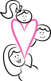 Family love: Mom and Kids. Illustration of a single mom, her daughter and son representing family love and solidarity; isolated Stock Image