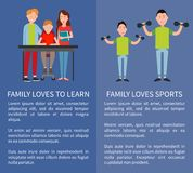 Family Loves Sports and to Learn Two Color Banners. Vector illustrations isolated on blue backdrops, father and his son with dumbbells, writing boy Royalty Free Stock Photography