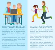 Family Loves to Learn and Sport Colorful Cards. Running mom and her daughter, happy parents with son that working with black laptop, blue text sample Stock Photography