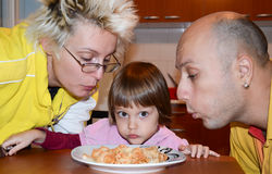 Family lunch spaghetti at home Royalty Free Stock Photography