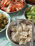 Family luncheon. In Chinese style with water dumplings Royalty Free Stock Photo
