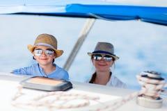 Family at luxury yacht royalty free stock photo