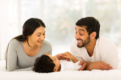Family lying bed Royalty Free Stock Photo