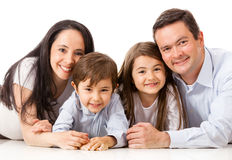 Family lying on the floor Stock Photos