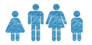 Family made of water. Symbol of a family of four persons made of wate Stock Illustration