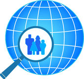 Family in magnifier on planet background Royalty Free Stock Photos