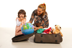 Family make their luggage for travel Royalty Free Stock Photos