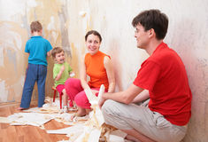 Family makes interruption in  removal of  old of Royalty Free Stock Image