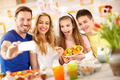 Easter selfie in family together stock photo