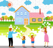 A family making a home jigsaw puzzle vector illustration Stock Photography