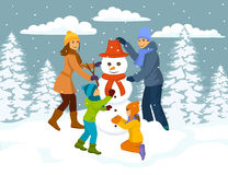 Family making snowman scene, winter snow forest park Royalty Free Stock Image