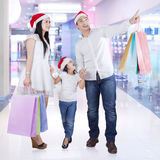 Family in the malll with shopping bags Stock Photos