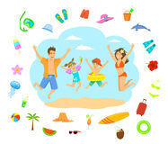 Family man woman boy girl kids children jumping for joy on a beach vacation holidays Stock Photo