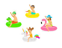 Family, man woman, parents and children on summer time vacation swimming on inflatable floating mattress rings in shapes of dragon. Family, man woman, parents royalty free illustration