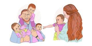 a family of many children. female royalty free illustration