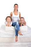 Family and many mattresses Royalty Free Stock Photography