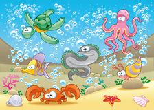 Family of marine animals in the sea. Vector and cartoon illustration Royalty Free Stock Image