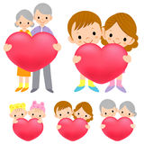 The family Mascot is holding a big Heart. Marriage and Parenting Royalty Free Stock Photo