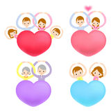 The family Mascot is holding a big Heart. Marriage and Parenting Royalty Free Stock Images