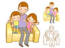 Family Mascot in a Sitting on the sofa.Marriage and Parenting Ch Stock Photo