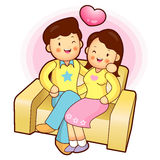 Family Mascot in a Sitting on the sofa.Marriage and Parenting Ch Stock Photography