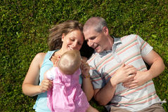 Family in the meadow royalty free stock photos