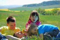 Family on a meadow Stock Photos