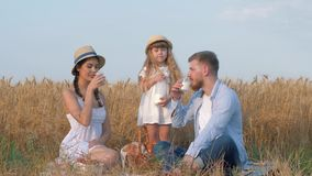 Family meadow picnic, little child girl pours milk into her parents glasses and they communicate drinking milk while. Looking far away at outdoor picnic in stock video