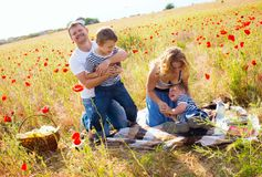 Family on the meadow Stock Photography