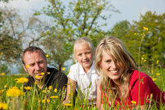 Family on meadow in spring Royalty Free Stock Photography