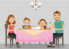 Family meal. Father, mother,son and daughter together happily sit at the table and have dinner.Standard graphics creative for you to use as illustrations vector illustration